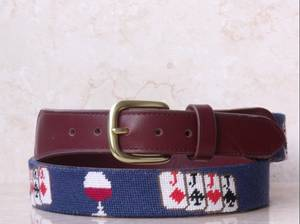 Wholesale Belts: Hand-stitched Joker Needlepoint Genuine Leather Belts