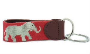 Wholesale Key Chains: Elephant Needlepoint Key Chains with Solid D Ring