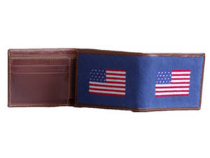 Wholesale wallets: American Flag Navy Blue Needlepoint Full Wallet