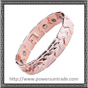 Wholesale gold bracelets: 3000gauss Magnetic Rose Gold Bracelet