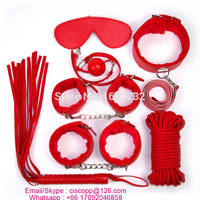 7 PCS Leather Adult Game Handcuffs Clamps Whip Collar Erotic Toy Leather Fetish Sex Bondage Set