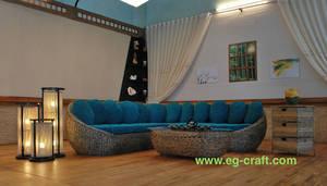 Wholesale rattan furniture: Evergreen Wicker Indoor Sofa Set for Living Room