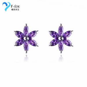 Wholesale gold earrings: Cute Girls' CZ Stone Jewelry Gold Plated Flower Earrings
