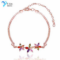 Delicate Jewelry Colored Diamond Flower Shaped Bracelets