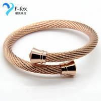 Charming Cable Bangles Cheap Fashion Gold Plated Male Bracelets