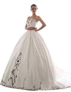 Wholesale Wedding Dresses: Satin Strapless Wedding Dress with Black Embroidery