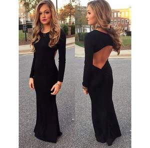 Wholesale prom dresses: Black Evening Dress,Long Sleeves Prom Dresses,Women Formal Prom Gown
