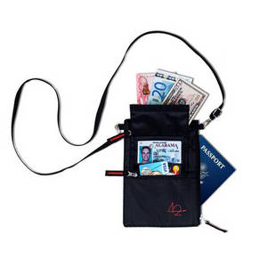 Wholesale passport wallet: Travel Neck Wallet with RFID BLOCKING-4 Compartment Neck Pouch Passport Holder CreditCard Protection