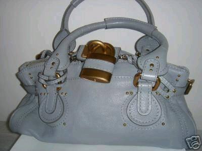NWT100 %Auth Chloe Light Blue Grey Paddington Bag, View from ...