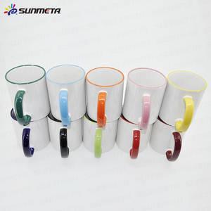 Wholesale ceramic mug: 11oz Sublimation Ceramic Coated White Mug On Sale, Rim and Hand Colour Mug