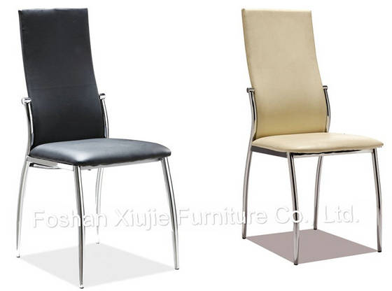 Modern chrome metal pu leather dining chairs for sale for Leather kitchen chairs for sale