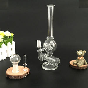 Wholesale Hookahs: Mini Oil Rig Glass Bubbler Glass Bong Inline To Donut Oil Rig Percolator