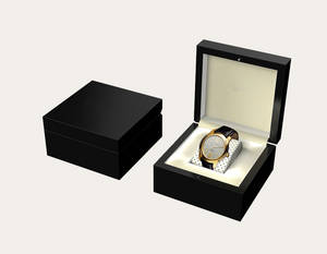 Wholesale wooden box: Lockable Watch Box with Glossy Black Wooden Box  Inside PU Leather 150*150*50mm