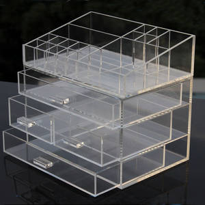 Wholesale cosmetic box set: Clear Acrylic Makeup Organizer Drawer Type Perspex Cosmetic Storage Box