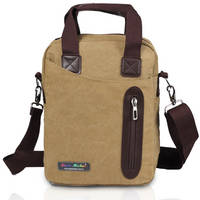 Canvas Shoulder Bag with Laptop Pocket and Leather Patches