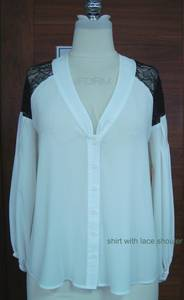 Wholesale Ladies' Blouses: Ladies 100%Polyester Blouse with Lace Shouler