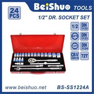 Wholesale auto repair tools: 24pcs Socket Set,Metal Box,Auto Repair Handtool Tools Set,