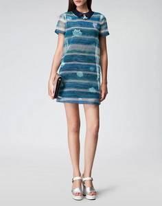 Wholesale sheers: Subtle Shift Dress Tie Dye Sheer Stripe Shell Printing J4163L