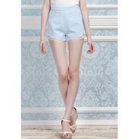 Fresh Slim Fit Hot Pant with Scallop Hem with Sheer Organza Underneath Edge J4169K