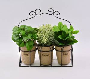 Wholesale pot stand: Artificial Mixed Herbs in Flax Bag/Paper Pot