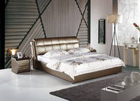 Furniture Softbed Geniune Leather Bed Fabric Bed 311