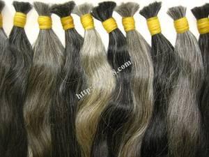 Wholesale silk: Original Grey Straight Hair 24 Inch SILK THIN SHINING 100% VIETNAM REMY HUMAN HAIR