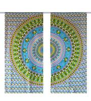Handicrunch   Indian Cotton Mandala Window Door Cover Hanging Curtain