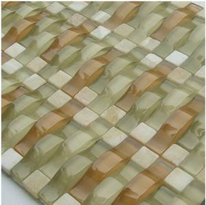 Wholesale border mosaic: Arch Crystal Glass Mosaic Tile