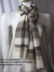 Wholesale knitted throw: CASHMERE natural tripe shawl