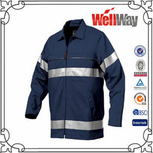 Wholesale safety tape: Navy Safety Reflective Tape Men Work Shirts China