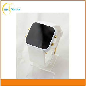 Wholesale silicone watch: High Quality Fashion Alloy Case Silicone Band LED Mirror Watches for Men