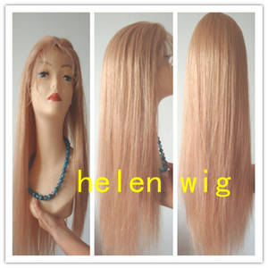 Wholesale full lace wigs: Long Virgin Brazilian Hair Blonde Full Lace Wig in Stock