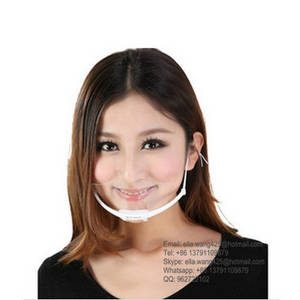 Wholesale anti fog mask: High Quality Food Industry Restaurant Sanitary Anti Fog Transparent Smile Clear Plastic Face Mask