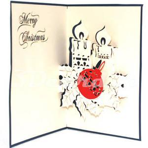 Wholesale handmade: Xmas Candles-Pop Up Card-Kirigami-3D-Christmas-Handmade-Laser Cut-Paper Cutting Card