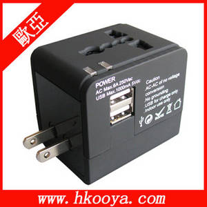 Wholesale notebook charger: World Travel Adapter with DUAL USB Charger(TA-102)