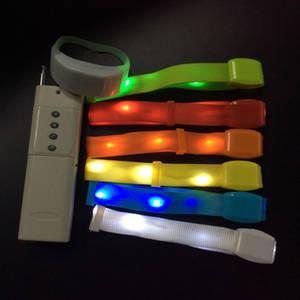 Wholesale flash light: Ledpowkey Remote Control Nylon LED Wristband Flashing Bracelet Lighted Bracelet