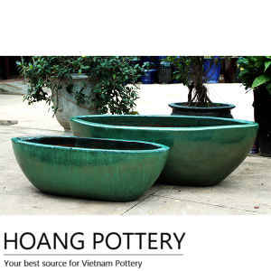 Wholesale ceramic: Large Ceramic Over Green Glazed Flower Pots