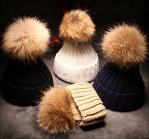 Wholesale winter hat: Fashion Popular Plain Knitted Women Winter Wool Real Racoon Fur Pom Pom Beanie Hat