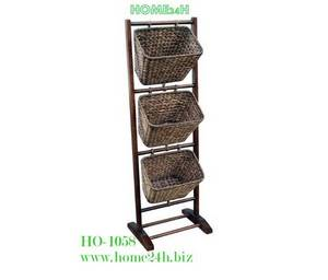 Wholesale tray: Vietnam Crafts Water Hyacinth Rack, 3 Holders, Black Washed