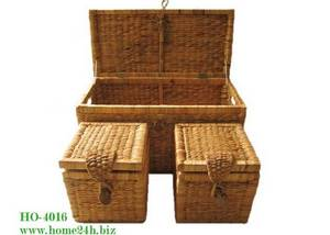 Wholesale handmade pillow: Vietnam Crafts Best Selling Water Hyacinth Trunk, Storage Box S/3