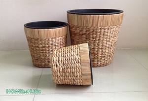 Wholesale h: Vietnam Crafts Water Hyacinth Pots Plastic Home24h - Planter Pots, Woven Craft-Home24h.Biz