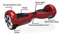 Sell LED light + Bluetooth Speaker io hawk style electric scooter 8 inch Electri