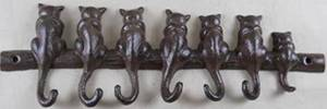 Wholesale Other Garden Supplies: Cast Iron Cat Key Rack with 7 Hooks