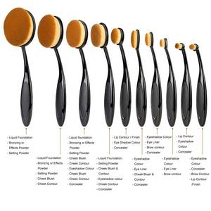Wholesale makeup: 2016 Fashionable 10pcs Oval Makeup Foundation Blush Brush Set