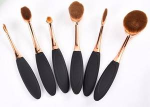 Wholesale gold set: 2016 Fashionable 6pcs Oval Rose Gold Makeup Cosmetic Foundation Brush Set