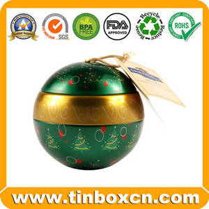 Wholesale with string: Ball Tin,Tin Ball Can,Christmas Ball Tin with Strings