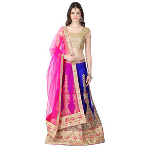 Wholesale embroidered lehenga choli: Traditional Embroidered Net Lehenga Choli