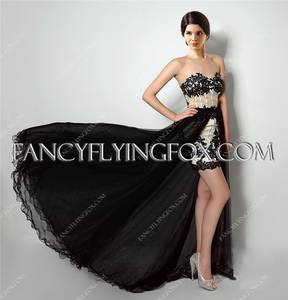 Wholesale prom dresses: New Faddish 2016 Black and Champagne Prom Dress with Detachable Train