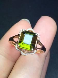 Wholesale gold set: Fashion Natural Green Tourmaline 18k Gold Ring Set with Diamonds.