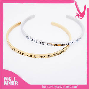 Wholesale bangles: Wholesale Stainless Steel Bracelets with Inspirational Custom Message Mantraband Bangle